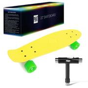 """PHAT 22"""" Complete Plastic Retro Mini Skateboard Cruiser Street Surfing Skate Banana Board"""