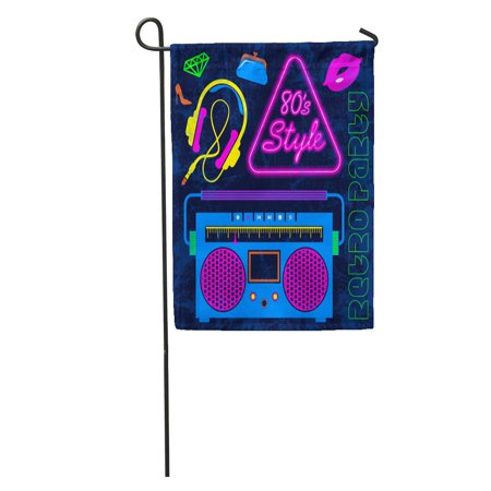 SIDONKU 80 Retro Neon Colorful Vintage Lips Headphones Cassette Radio Eighties Garden Flag Decorative Flag House Banner 12x18 inch (Eighties Neon)