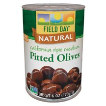 Field Day - Olives,Med,Pitted,Ca Ripe, 12 x 6 OZ