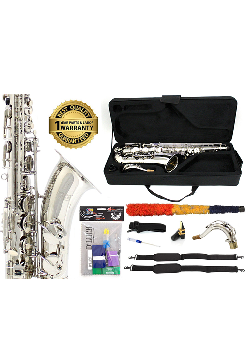 D'Luca 370 Series Nickel Plated Bb Tenor Saxophone with F# key, Professional Case,... by D'Luca