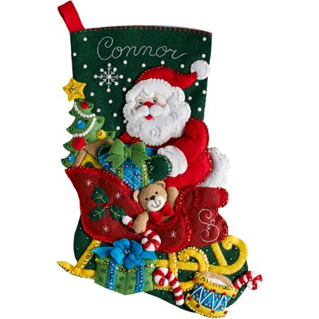 Bucilla Jeweled Felt (Bucilla Felt Stocking Applique Kit 18