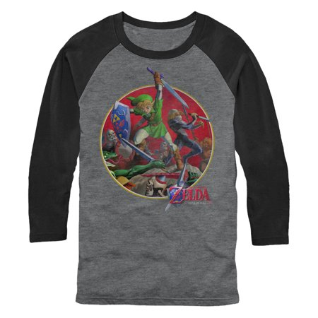 49133472 Nintendo Men's Legend of Zelda Link Fight Baseball Tee - Walmart.com