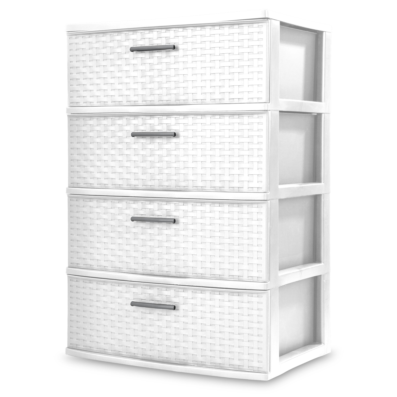 3 Drawer Wide Weave Tower Storage Cabinet Box Organizer Dresser Chest Dorm Color