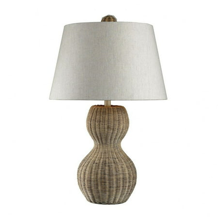 Light Rattan  Gourd Table Lamp Made Of Metal And Rattan With A Off-White Linen Shade With A 3-Way