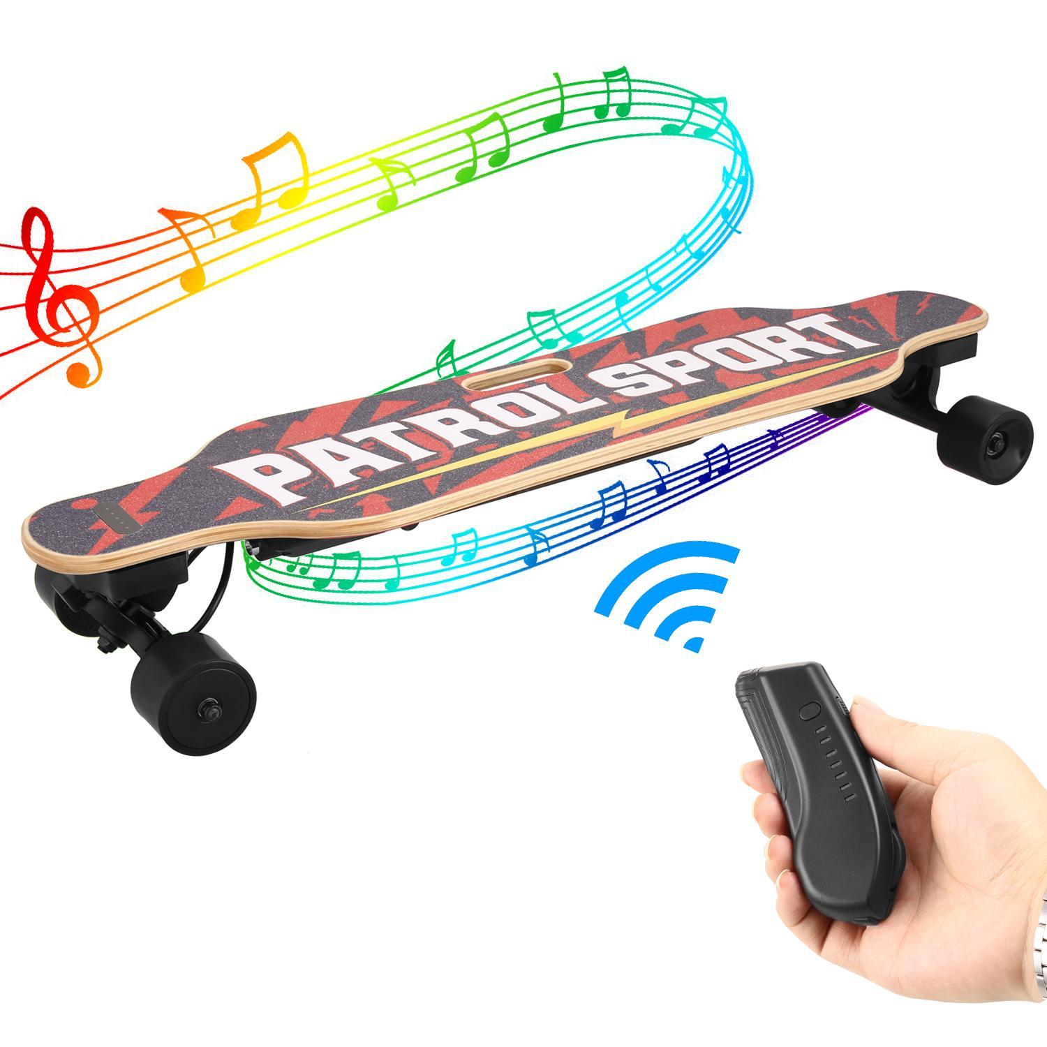 Dual Motor Electric Skateboard Longboard with Bluetooth Speaker Remote Controller BTC by