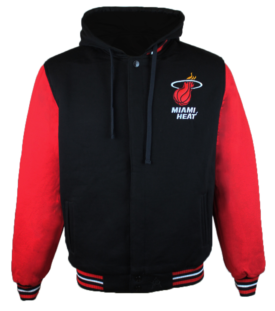 Men's Miami Heat JH Design Black Red Two-Tone Reversible Fleece Hooded Jacket by JH Design
