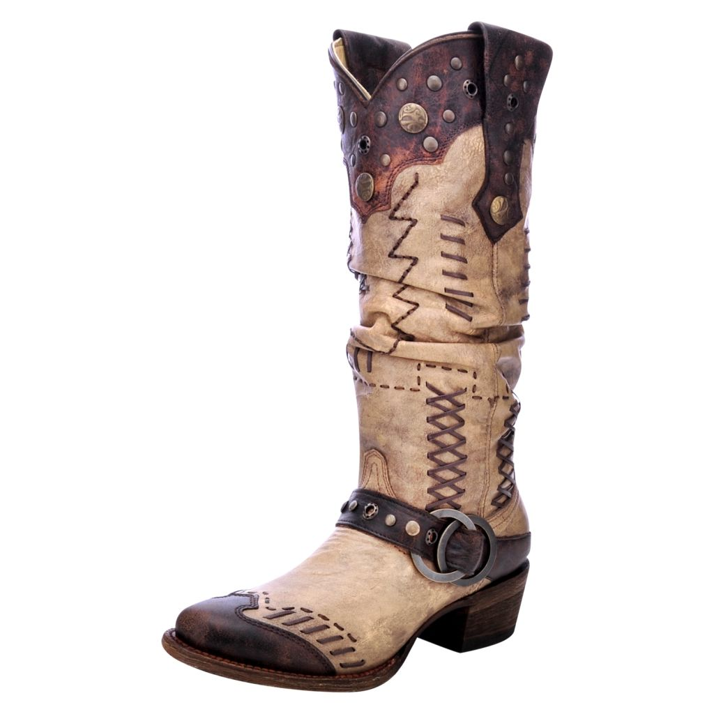 Western Boots Womens Slouch Studded Harness Tan Brown A3141