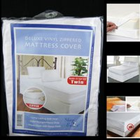 Twin Size Mattress Cover Vinyl Waterproof Zippered Blocks Allergy Bugs Dust Mite