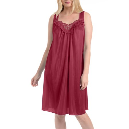 Women's Faux Silk and Lace Sleeveless Nightgown By - White Gown