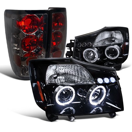 Spec-D Tuning For 2004-2015 Nissan Titan Glossy Black Led Halo Projector Headlight + Smoked Tail Lamp (Left + Right) 2004 2005 2006 2007 2008 2009 2010 2011 2012 2015