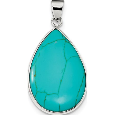 Leslies Fine Jewelry Designer 925 Sterling Silver Teardrop Turquoise (24x40mm) Pendant Gift ()