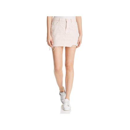 Mother Mint - Mother Womens Denim Distressed Mini Skirt Pink 26