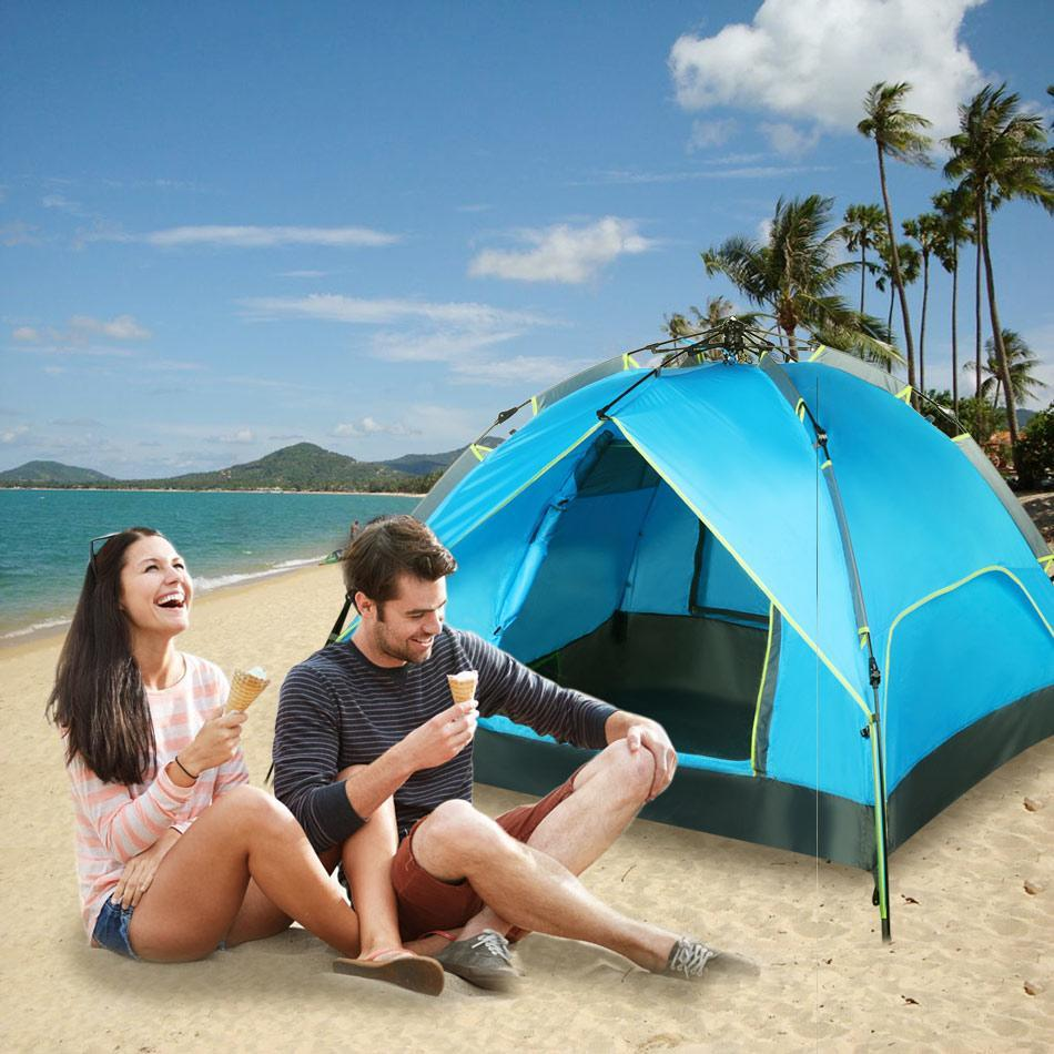 Quick Pop Up Tent Buckle Instant Family Tent  3 In 1 Design Double Layers 3
