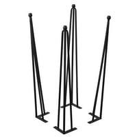 "Serenta Hairpin 4 Piece Table Legs with Adjustable Cushion Feet, 20"""