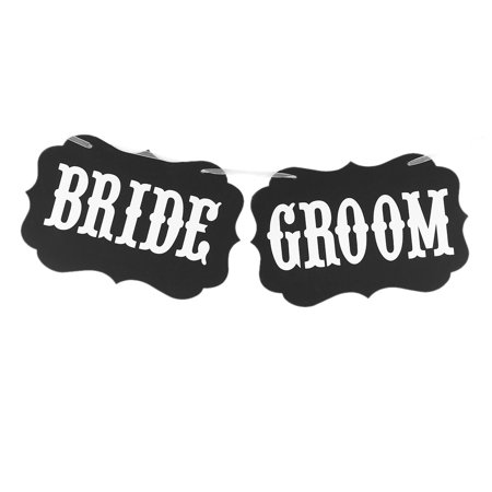 BRIDE GROOM Letter Pattern Wedding Party DIY Decor Photo Prop Banner White Black](Here Comes The Bride Banner)