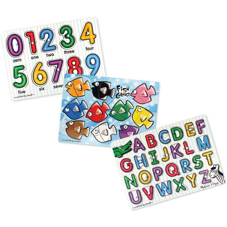 Melissa & Doug Classic Wooden Peg Puzzles, Set of 3, Numbers, Alphabet, and Colors