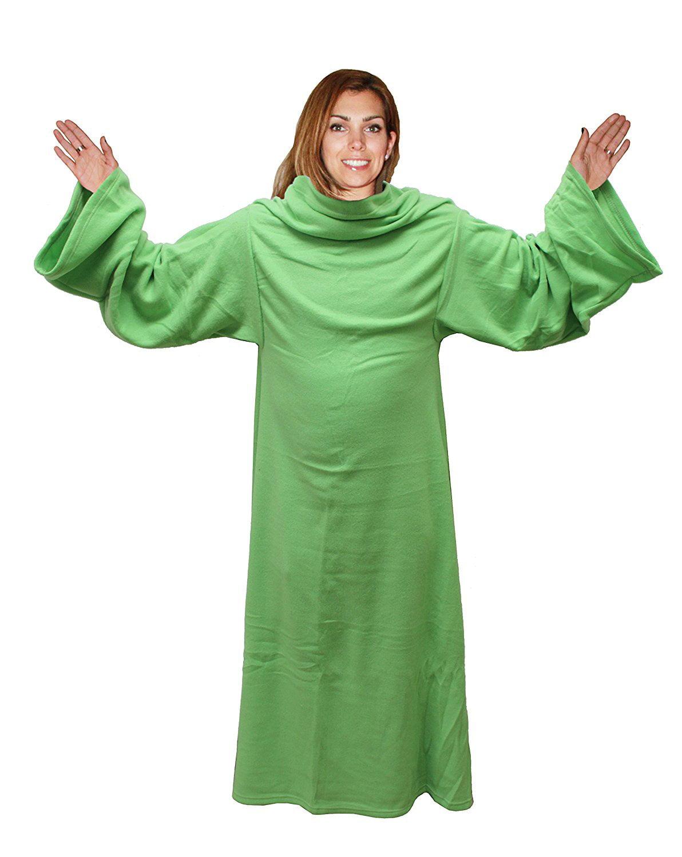 Soft Snuggle Fleece Blanket With Sleeves - Comy Sherpa Wrap Pajama\'s ...