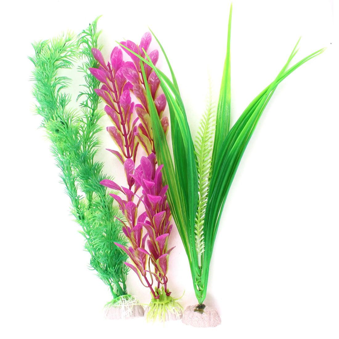 Unique Bargains Fuchsia Green Artificial Aquarium Decor Water Grass Plant 3PCS