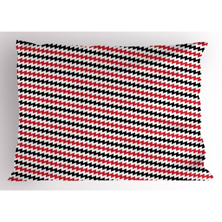 Red and Black Pillow Sham Hypnotizing Vintage Zigzag Chevron Wave Seem Retro Border Like Image, Decorative Standard Queen Size Printed Pillowcase, 30 X 20 Inches, Ruby and White, by Ambesonne - Hypnotizing Swirl