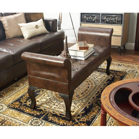 """Decmode - 53"""" x 25"""" Tufted Brown Faux Leather Upholstered Bench Seat with Rolled Arms Silhouette ()"""