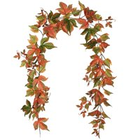Coolmade 2 Pack Fall Maple Garland - 6.5ft/Piece Artificial Fall Foliage Garland Autumn Decor for Home Wedding Party