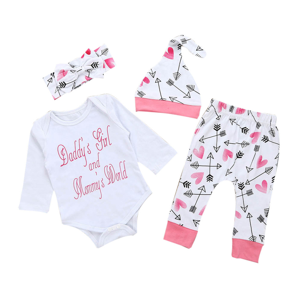 ed7a72f212d6d CARLTON Newborn Infant Baby Girl Clothes Letter Romper Top+Pants+Hat  Outfits Clothes Set