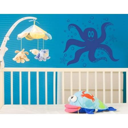 Little Octopus with Sea Stars Wall Decal Wall Sticker Vinyl Wall Art H