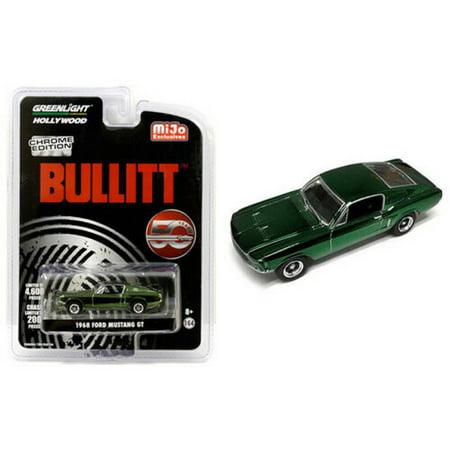 "Greenlight ""Bullitt"" 50 Anniversary 1968 Ford Mustang GT Green Chrome Edition 1/64 Diecast Model Car"