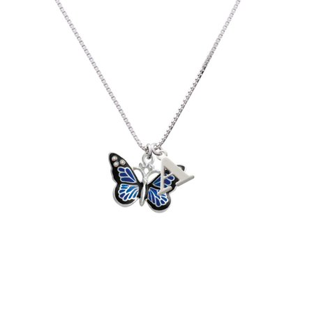 Silvertone Large Blue Butterfly with 6 AB Crystals - A - Initial Necklace (Necklaces With A Initial)