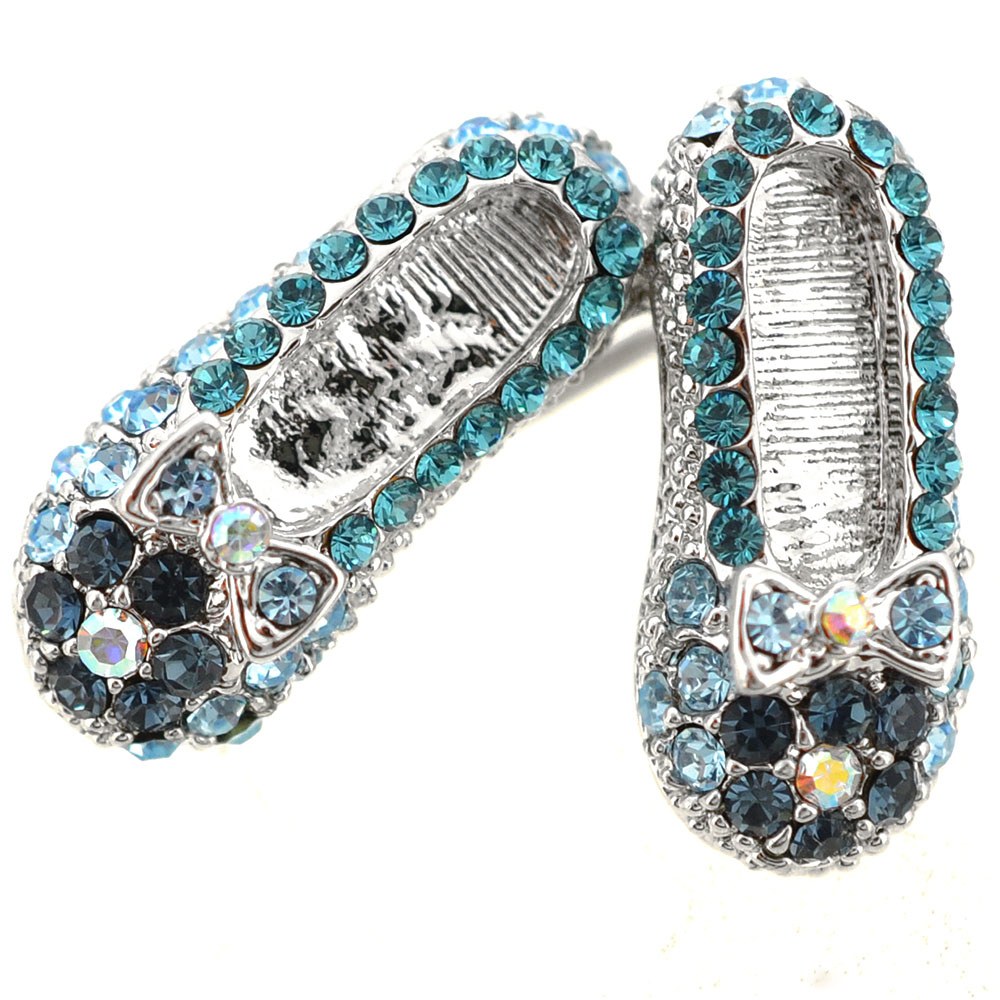 Blue Flat Crystal Shoes Brooch Pin by