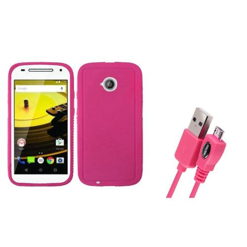 Insten Rugged Rubber Cover Case For Motorola Moto E (2nd Gen 2015) - Hot Pink (with Free USB cable)