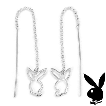 Sterling Silver Threader Earrings Bunny Charms Chain Dangles Gift Box