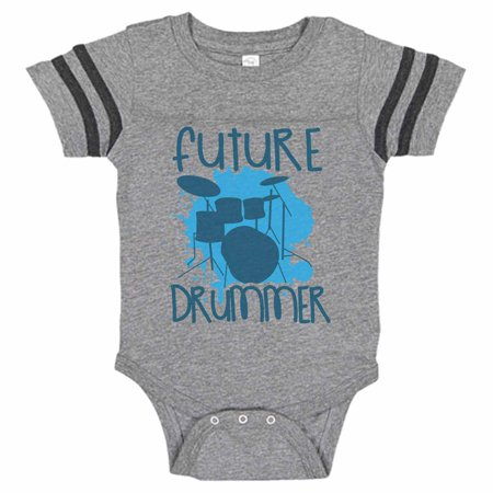 "Cute Musical Instrument Baseball Bodysuit Raglan ""Future Drummer"" Newborn Drum Set Shirt Gift - Baby Tee, 12-18 months, Grey & Black Short Sleeve"
