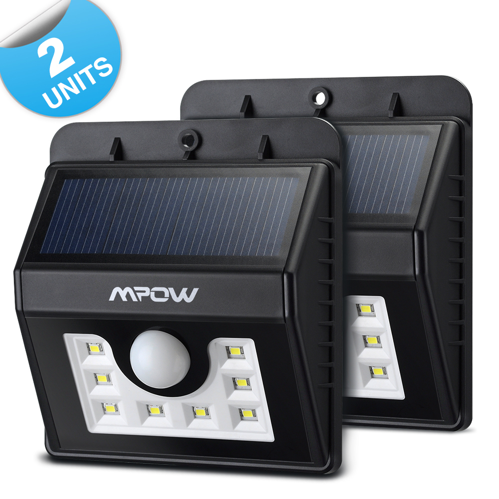 Mpow Super Bright 8 LED Solar Powered Wireless Security Light Weatherproof  Outdoor Motion Sensor Lighting With