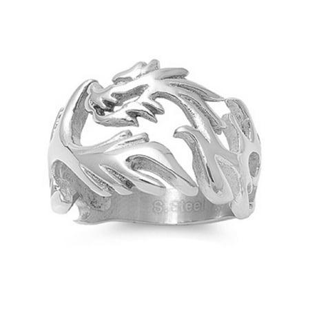 Stainless Steel Dragon Fire Biker Ring (Dragon Ring)