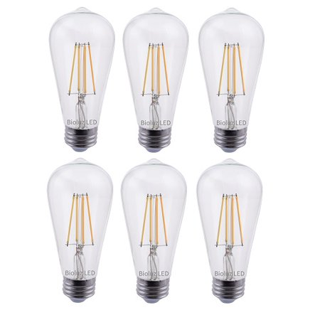 6 Pack Bioluz LED Pendent Light Bulbs, 60 Watt Replacement with Antique Vintage Design, Dimmable Filament ST64 Squirrel Cage E26 Base 2700K Warm White UL