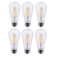 6 Pack Bioluz LED Pendent Light Bulbs, 60 Watt Replacement with Antique Vintage Design, Dimmable Filament ST64 Squirrel Cage E26 Base 2700K Warm White UL Listed