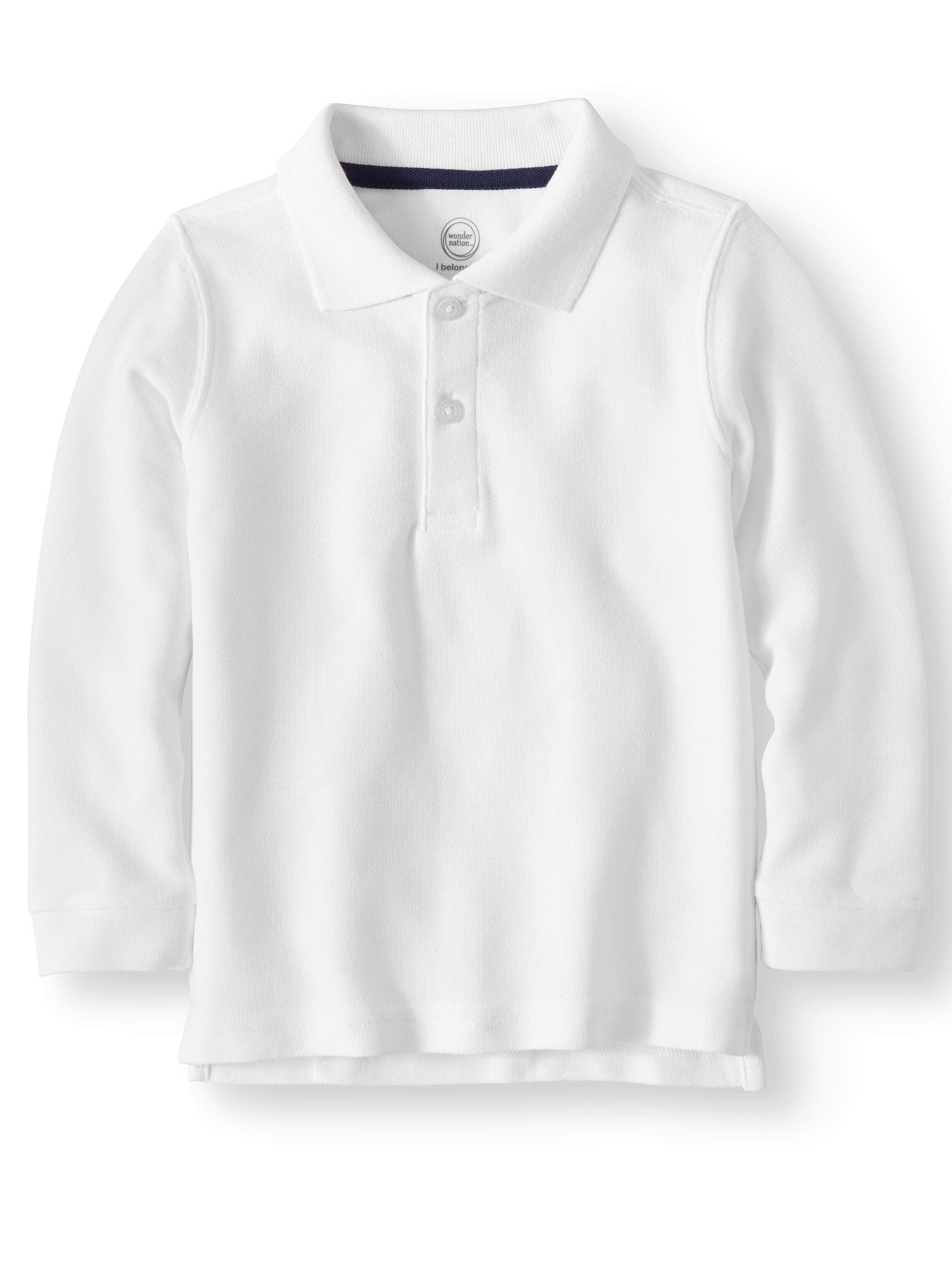 Toddler Boys School Uniform Long Sleeve Double Pique Polo