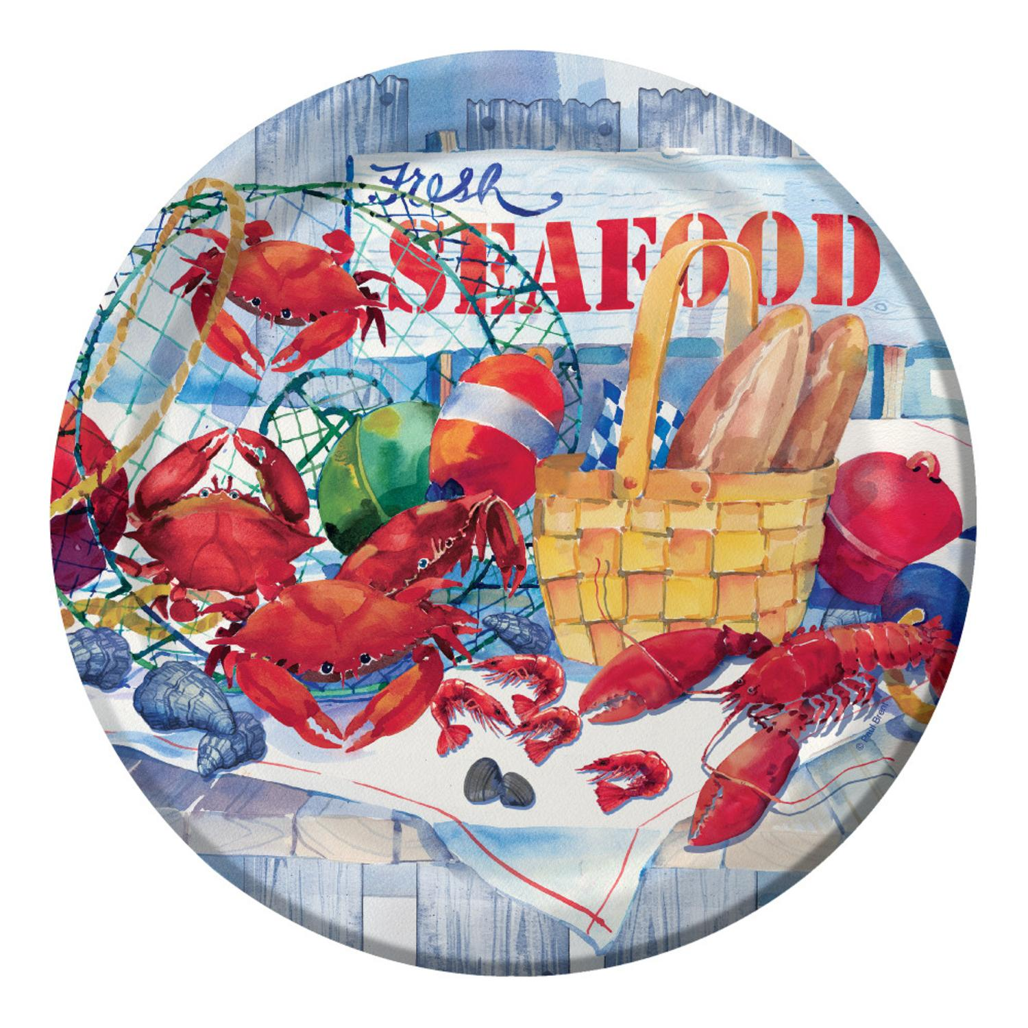 Club Pack of 96 Seafood Celebration Round Decorative Part...