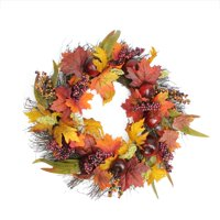 "22"" Autumn Harvest Apple Berry and Leaf Artificial Thanksgiving Floral Wreath - Unlit"