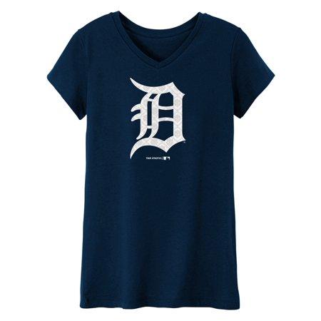 MLB Detroit TIGERS TEE Short Sleeve Girls 50% Cotton 50% Polyester Team Color 7 - 16 - Detroit Tigers Halloween Pumpkins