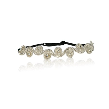 Hand Made Bridal Wedding Crystal Diamond Rhinestone Headband with Adjustable Back Strap To Fit Adult to A Child. - Adult Headbands