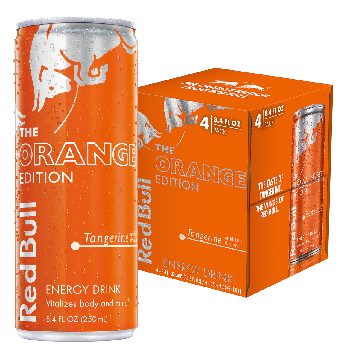 Red Bull The Orange Edition Energy Drink, Tangerine, 8.4 Fl Oz, 4 Count