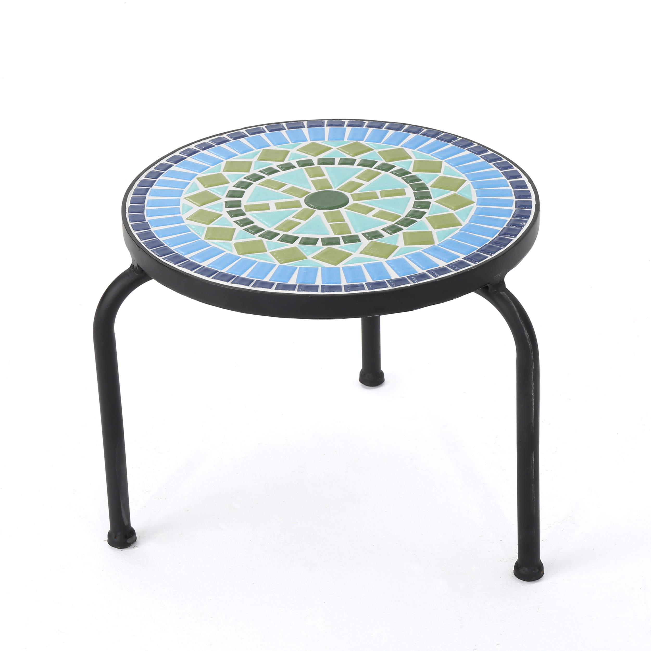 Isildur Outdoor Ceramic Tile Side Table With Iron Frame Blue And