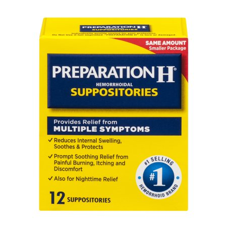 Glycerin Suppositories Laxative Adult (Preparation H Hemorrhoid Symptom Treatment Suppositories (12 Count), Burning, Itching and Discomfort Relief)