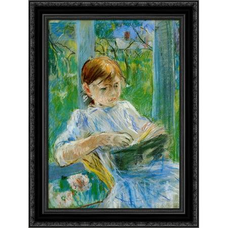Portrait of the Artist's Daughter, Julie Manet, at Gorey 20x24 Black Ornate Wood Framed Canvas Art by Morisot, Berthe - Julie Ann Art Halloween Costumes