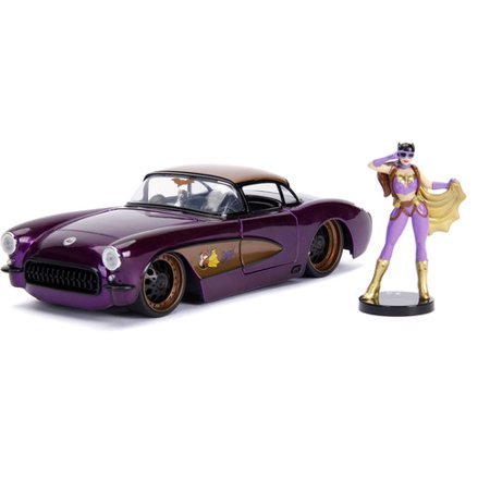 78 Corvette Pace Car (1957 Chevrolet Corvette Purple with Batgirl Diecast Figure