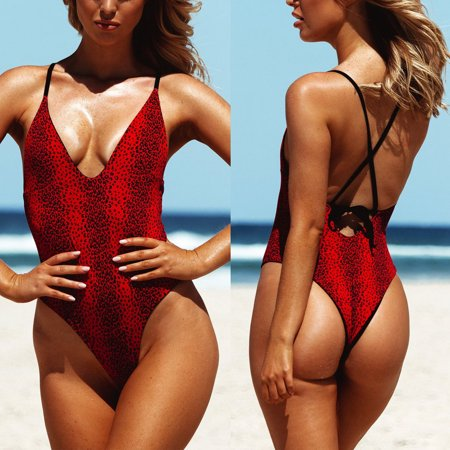 Sexy Romper Women Ladies Bodysuit Leotard Blouse Sleeveless Lady Stretch Jumpsuit One Piece Bikini Push-up Padded Swimsuit Bathing Swimwear Beach Monokini Red M ()