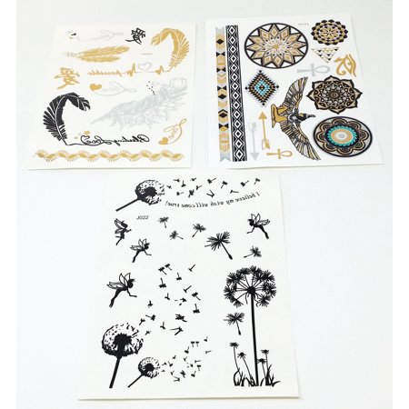 Terra Tattoos Premium Black Temporary Tattoos - 75+ Tattoo Designs - Feathers, Roses, Butterflies, Dream Catcher, Bows & More (Marilyn