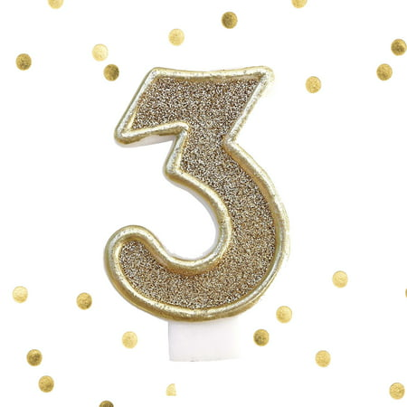 Light Gold Glitter 3rd Birthday Candle Number 3 Three Cake Topper Year